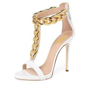 FSJ Golden Open Toe Ankle Straps Sandals High heel